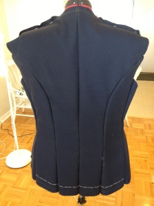 The beautiful back. I've thread-traced the hem. I learned my lesson and won't mark with only chalk any more.
