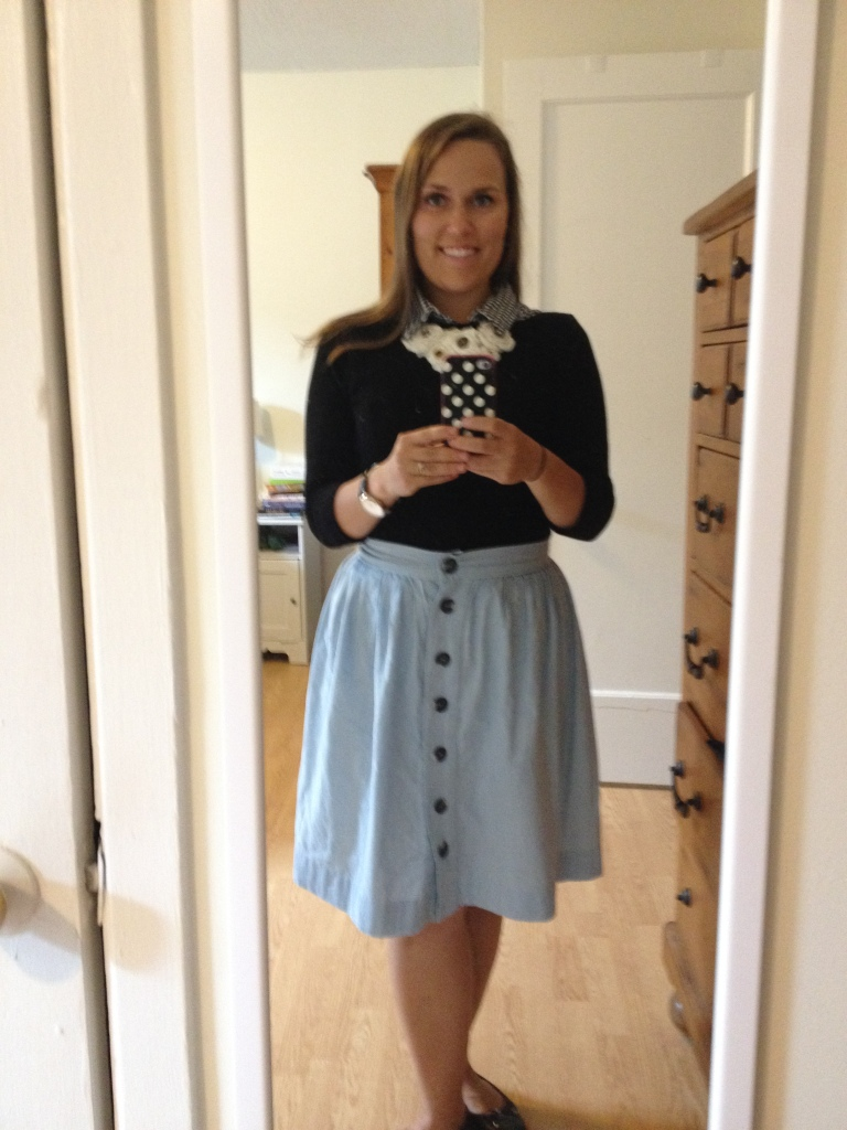 Feeling very proud of my very homemade and very coordinated outfit. Skirt, blouse and necklace all made by me!